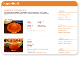 Happy Heidi's Original Online VintageFiestaware Price Guide, Identification, Gallery, Fiesta Pottery Resources, including Riviera, Harlequin and other Homer Laughlin Pottery